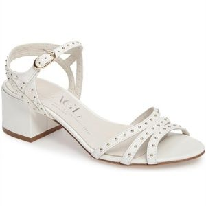 New with defect AGL white studded block heel 39